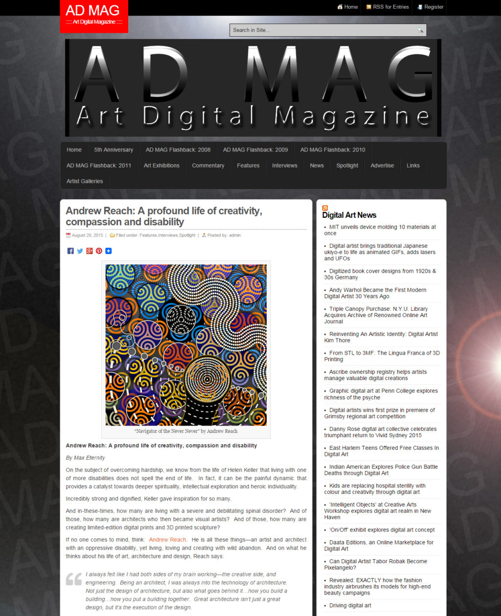 Andrew Reach Art Digital Magazine Interview screen shot 08-29-2015
